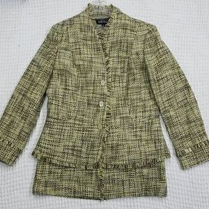 Yellow and Brown Tweed Suit Set